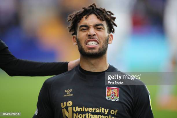 Kion Etete of Northampton Town celebrates after scoring his sides first goal during the Sky Bet League Two match between Tranmere Rovers and...
