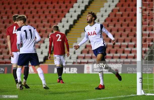 Kion Etete of Tottenham Hotspur celebrates after scoring their first goal during the Premier League 2 match between Manchester United and Tottenham...