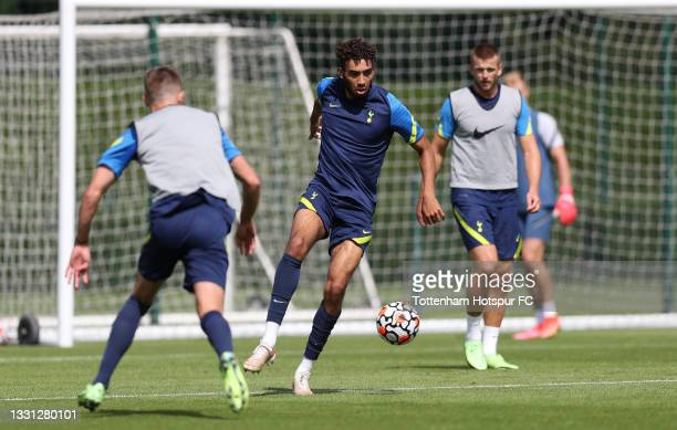 Kion Etete of Tottenham Hotspur during the Tottenham Hotspur pre-season training session at Tottenham Hotspur Training Centre on July 29, 2021 in...