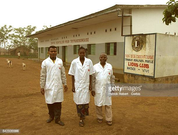 Kionzo Treatment Center, 80 km South of Matadi. The team in charge of the Centre: Pierre Mvulu Ndomanlieno, his son Jean-Pierre Mvulu Mpemebele and...