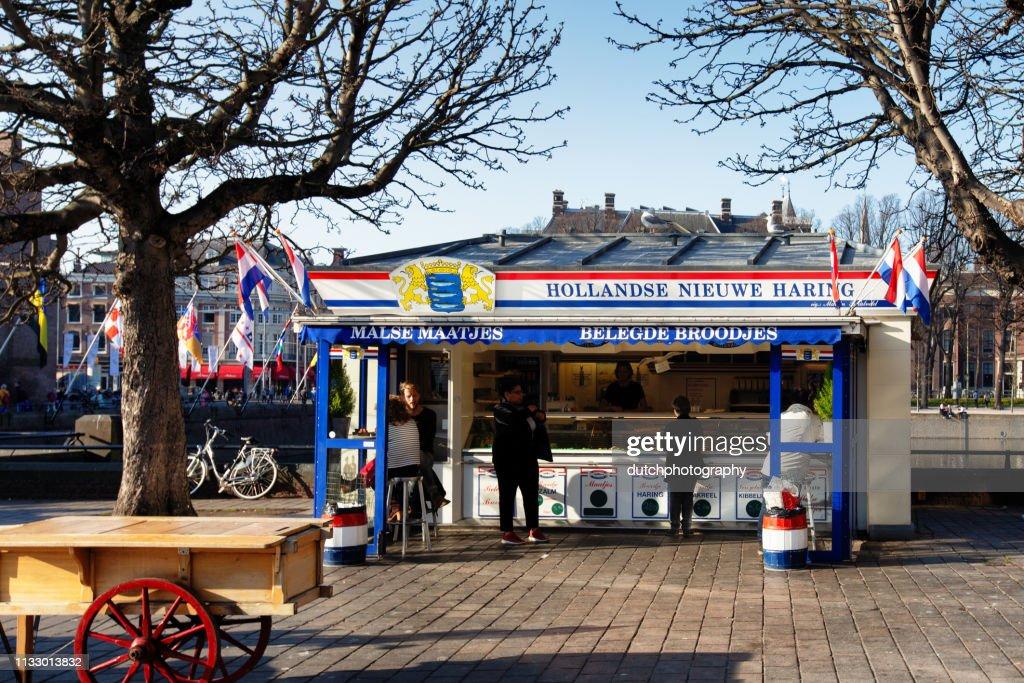Kiosk sales of new Dutch herring at Binnenhof, The Hague, the Netherlands : Stock Photo