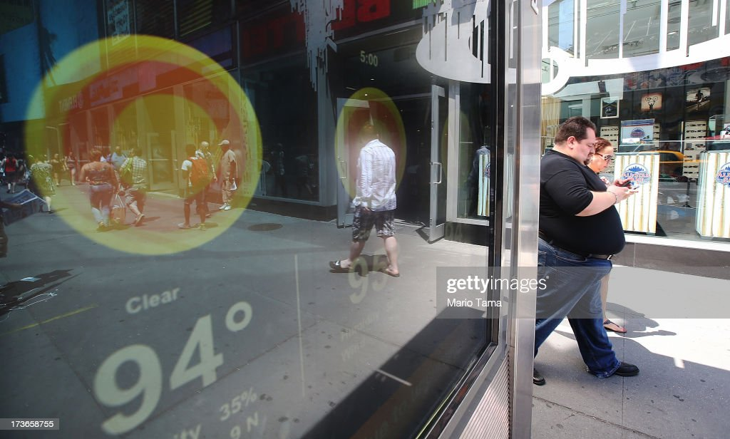 A kiosk screen reads 94 degrees in Times Square on July 16, 2013 in New York City. The worst heat wave of the summer has descended on the city with temperatures in the mid-90's today.