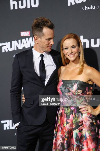 Kip Pardue and Annie Wersching arrives at the premiere of Hulu's 'Marvel's Runaways' at the Regency Bruin Theatre on November 16 2017 in Los Angeles...