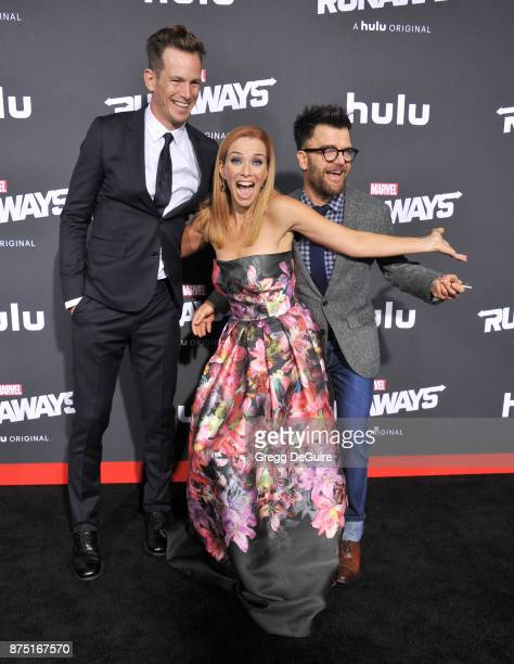 Kip Pardue Annie Wersching and Kevin Weisman arrive at the premiere of Hulu's Marvel's Runaways at Regency Bruin Theatre on November 16 2017 in Los...