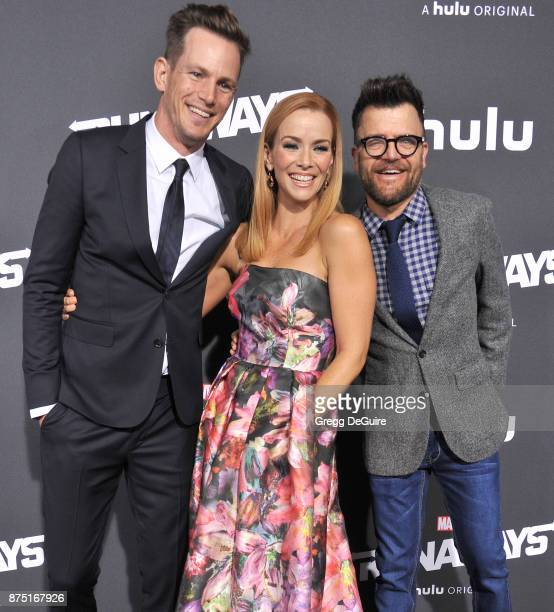 Kip Pardue Annie Wersching and Kevin Weisman arrive at the premiere of Hulu's 'Marvel's Runaways' at Regency Bruin Theatre on November 16 2017 in Los...
