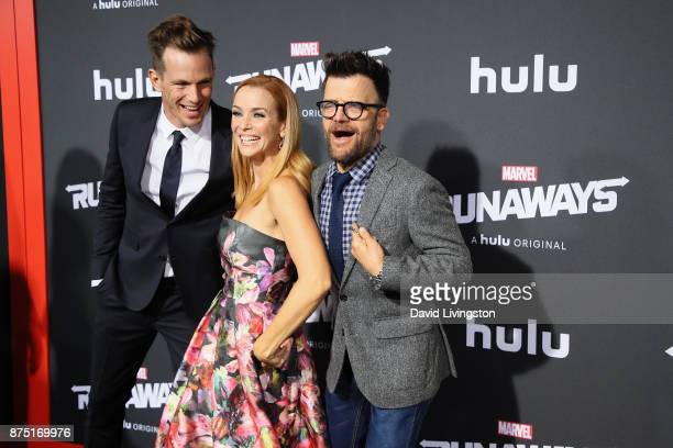 Kip Pardue Annie Wersching and Kevin Weisman arrive at the premiere of Hulu's 'Marvel's Runaways' at the Regency Bruin Theatre on November 16 2017 in...