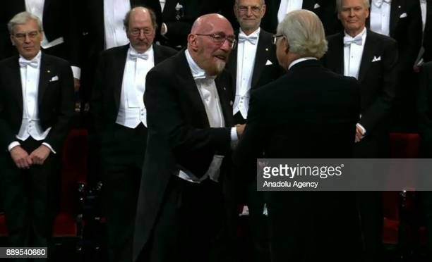 Kip S Thorne laureate of the Nobel Prize in physics receives his Nobel Prize from King Carl XVI Gustaf of Sweden during the Nobel Prize Awards...