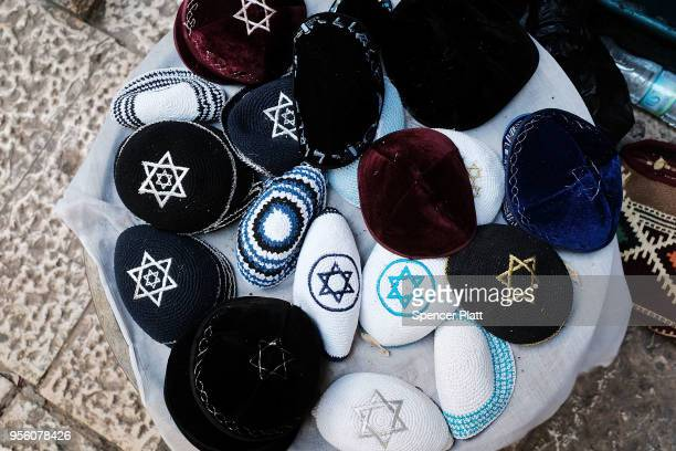 Kippahs or yarmulkes are displayed for sale on the streets of Jerusalem on May 8 2018 in Jerusalem Israel In a controversial move the United States...