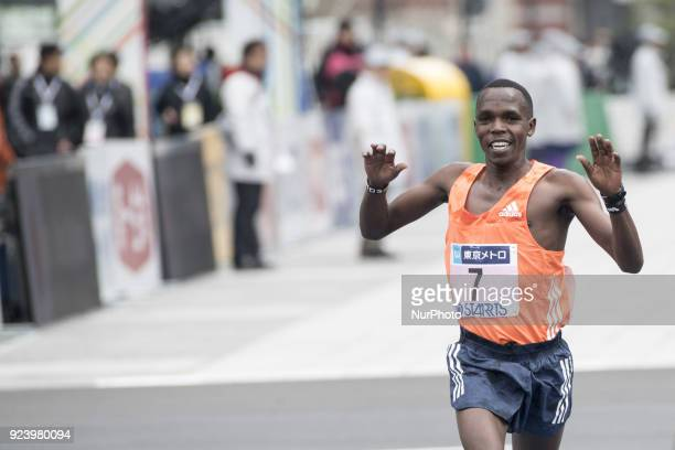 Kipruto Amos of Kenya crosses the finish line to take the third place in the men's race of the Tokyo Marathon 2018 in Tokyo Japan 25 February 2018...