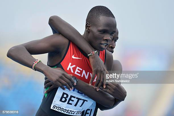 Kipyegon Bett from Kenya and Willy Kiplimo Tarbei from Kenya compete in men's 800 metres during the IAAF World U20 Championships at the Zawisza...