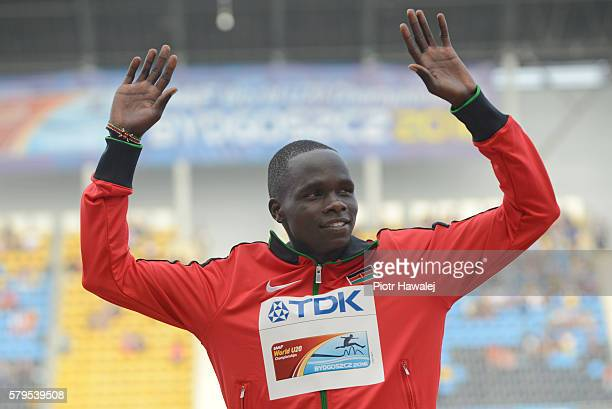 Kipyegon Bett from Kenya on the podium in men's 800 metres during the IAAF World U20 Championships at the Zawisza Stadium on July 24, 2016 in...