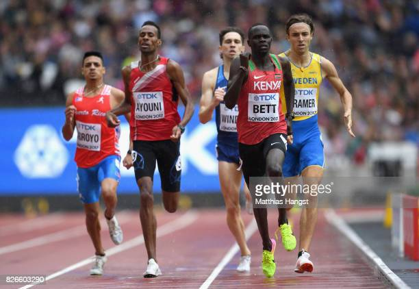 Kipyegon Bett of Kenya leads in the Men's 800 metres during day two of the 16th IAAF World Athletics Championships London 2017 at The London Stadium...