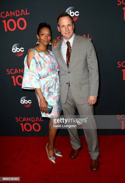 Kira Arne and actor Tom Verica attend ABC's Scandal 100th Episode Celebration at Fig Olive on April 8 2017 in West Hollywood California