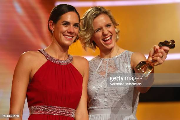 Kira Balkenhorst and Laura Ludwig poses with their 'Sportler des Jahres 2017' awards during the 'Sportler des Jahres 2017' Gala at Kurhaus...