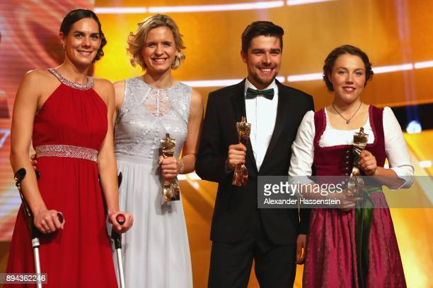 Kira Balkenhorst with Laura Ludwig, Johannes Rydzek and Laura Dahlmeier poses with their 'Sportler des Jahres 2017' awards during the 'Sportler des...