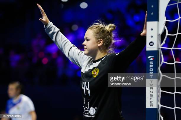 Kira Trusova of Russia during the EHF Euro match between Sweden and Russia on December 12 2018 in Nantes France