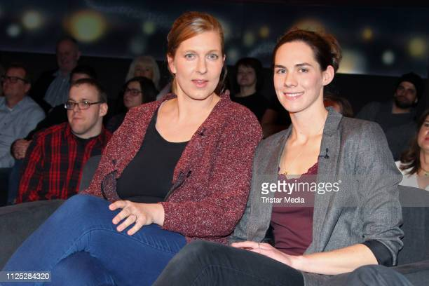 Kira Walkenhorst and her wife Maria Walkenhorst during the NDR 'Tietjen und Bommes' TV show on February 15, 2019 in Hanover, Germany.
