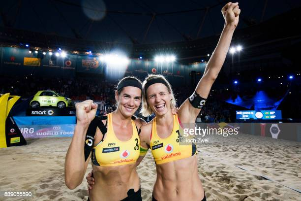 Kira Walkenhorst and Laura Ludwig of Germany celebrate during Day 3 of the Swatch Beach Volleyball FIVB World Tour Finals Hamburg 2017 on August 25...