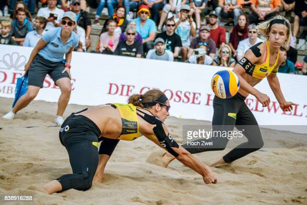 Kira Walkenhorst and Laura Ludwig of Germany in action during Day 3 of the Swatch Beach Volleyball FIVB World Tour Finals Hamburg 2017 on August 25...