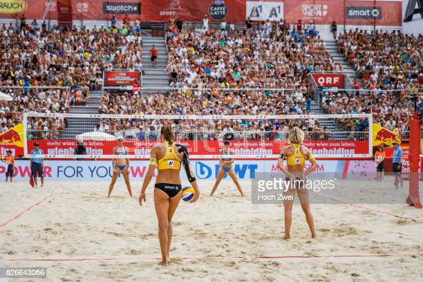 Kira Walkenhorst and Laura Ludwig of Germany seen during Day 9 of the FIVB Beach Volleyball World Championships 2017 on August 5 2017 in Vienna...