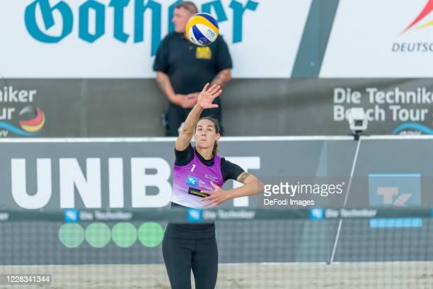 Kira Walkenhorst of DJK TuSA 06 Duesseldorf looks on during the quarter final match against Margareta Kozuch and Laura Ludwig at the German Beach...