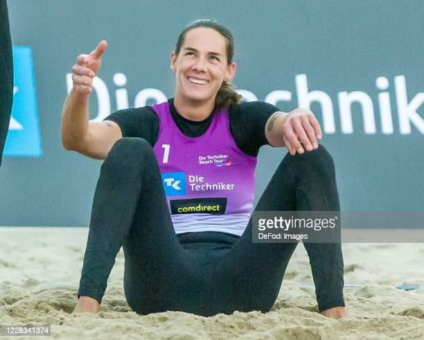 Kira Walkenhorst of DJK TuSA 06 Duesseldorf smiles during the quarter final match against Margareta Kozuch and Laura Ludwig at the German Beach...