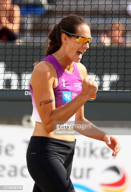 Kira Walkenhorst of Germany celebrates during the match against Lisa-Sophie Kotzan and Natascha Niemczyk of Germany on day two of the German Beach...