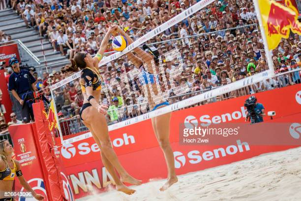 Kira Walkenhorst of Germany competes against Lauren Fendrick of the United States during Day 9 of the FIVB Beach Volleyball World Championships 2017...