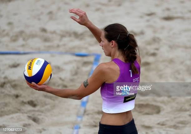 Kira Walkenhorst of Germany in action during the match against Lisa-Sophie Kotzan and Natascha Niemczyk of Germany on day two of the German Beach...