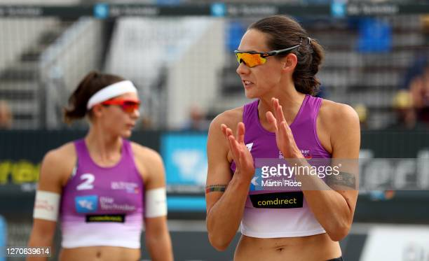 Kira Walkenhorst of Germany reacts during the match against Lisa-Sophie Kotzan and Natascha Niemczyk of Germany on day two of the German Beach...