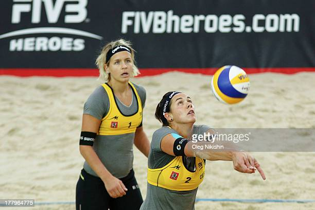 Kira Walkenhorst of Germany receives the ball during World Tour Moscow Grand Slam on August 25 2013 in Moscow, Russia.