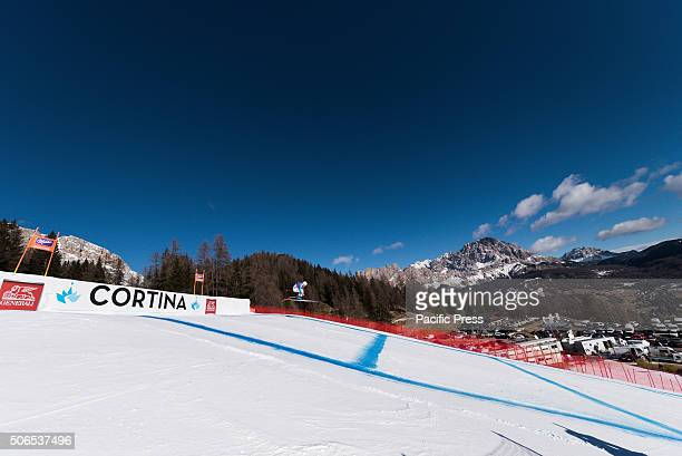 Kira Weidle from Germany on course during the Downhill race in Cortina d'Ampezzo Italy