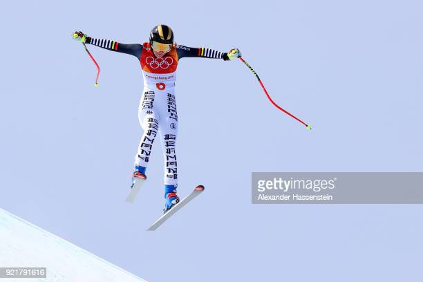 Kira Weidle of Germany competes during the Ladies' Downhill on day 12 of the PyeongChang 2018 Winter Olympic Games at Jeongseon Alpine Centre on...