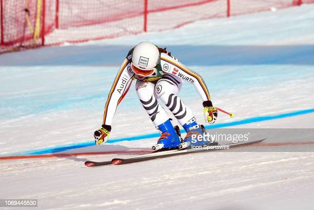 Kira Weidle of Germany crosses the finish line during the Ladies' Super G event at the Lake Louise Audi FIS Ski World Cup on December 2 at the Lake...