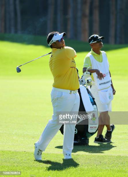 Kiracdech Aphibarnrat of Thailand plays a shot during Day Two of the Turkish Airlines Open at the Regnum Carya Golf Spa Resort on November 2 2018 in...