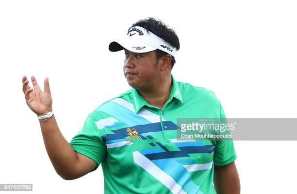 Kiradech Aphibarnrat of Thailand acknowledges the crowd after holing out on the 7th hole during day two of the KLM Open at The Dutch on September 15...