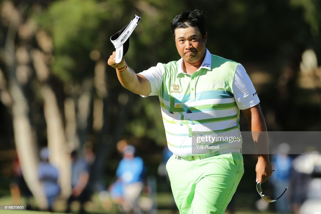 Kiradech Aphibarnrat of Thailand acknowledges the gallery after defeating James Nitties of Australia in the final during day four of the World Super 6 at Lake Karrinyup Country Club on February 11, 2018 in Perth, Australia.