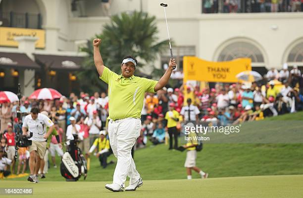 Kiradech Aphibarnrat of Thailand celebrates after winning the 3rd and final round of the Maybank Malaysian Open at Kuala Lumpur Golf Country Club on...