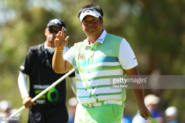 Kiradech Aphibarnrat of Thailand celebrates defeating Ben Eccles of Australia in the round one match during day four of the World Super 6 at Lake...