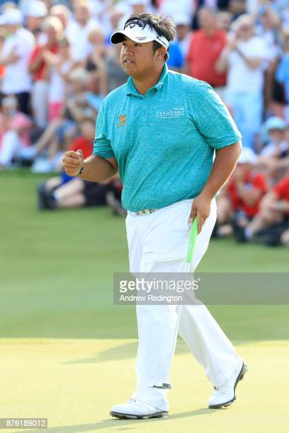 Kiradech Aphibarnrat of Thailand celebrates on the 18th green during the final round of the DP World Tour Championship at Jumeirah Golf Estates on...