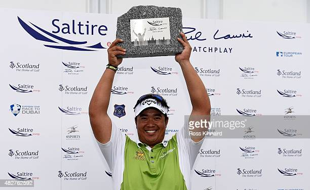 Kiradech Aphibarnrat of Thailand celebrates winning his match against Robert Karlsson of Sweden in the final of the Saltire Energy Paul Lawrie...
