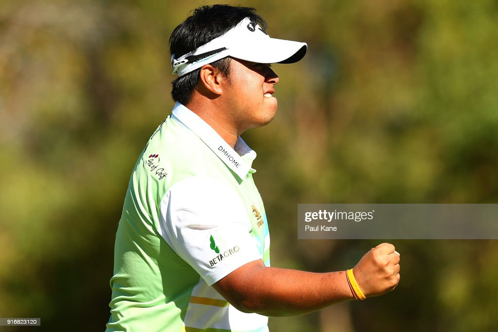 Kiradech Aphibarnrat of Thailand celebrates winning the final match against James Nitties of Australia during day four of the World Super 6 at Lake Karrinyup Country Club on February 11, 2018 in Perth, Australia.