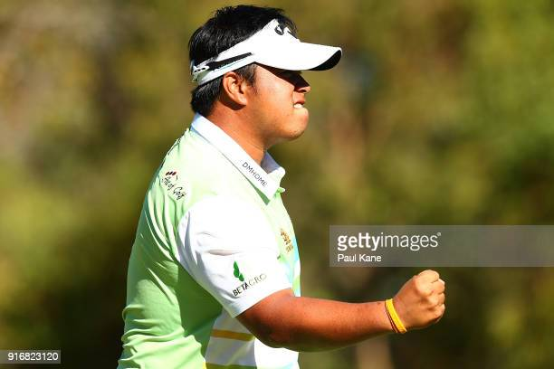 Kiradech Aphibarnrat of Thailand celebrates winning the final match against James Nitties of Australia during day four of the World Super 6 at Lake...