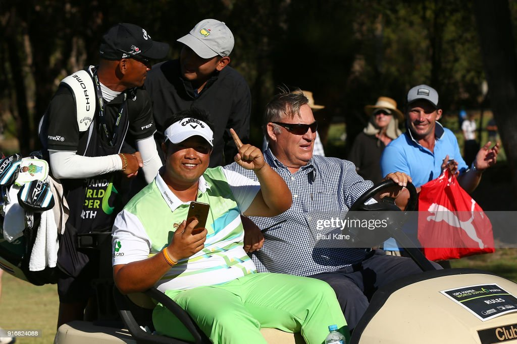 Kiradech Aphibarnrat of Thailand celebrates winning the final match against James Nitties of Australia while being driven back to the 6th green during day four of the World Super 6 at Lake Karrinyup Country Club on February 11, 2018 in Perth, Australia.
