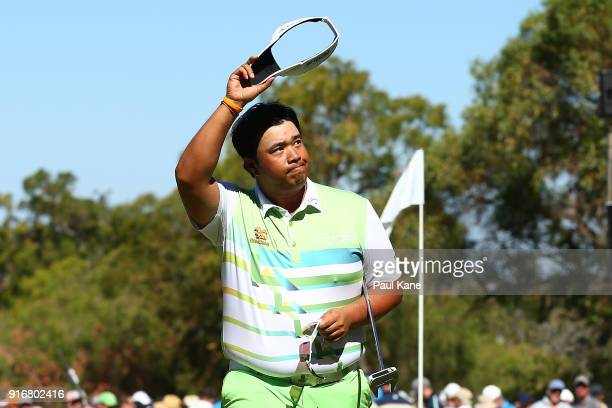 Kiradech Aphibarnrat of Thailand celebrates winning the semi final match against Lucas Herbert of Australia during day four of the World Super 6 at...