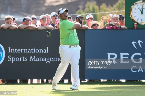 Kiradech Aphibarnrat of Thailand competes during the fourth day of Turkish Airlines Antalya Open 2018 at Regnum Carya Golf Spa Resort in Belek...