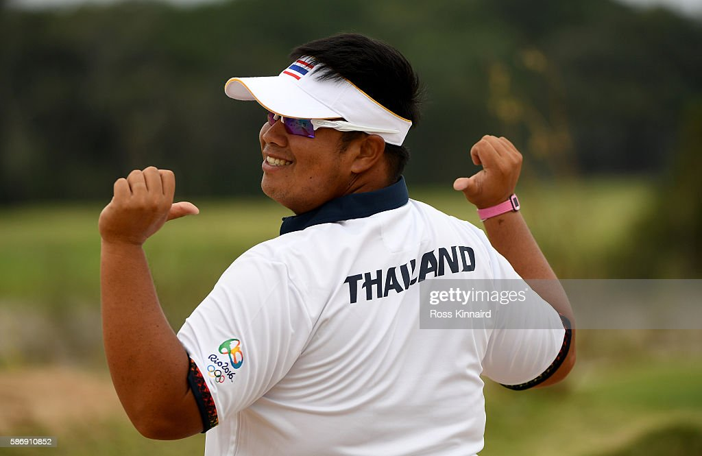Kiradech Aphibarnrat of Thailand during a practice round on Day 2 of the Rio 2016 Olympic Games at Olympic Golf Course on August 7, 2016 in Rio de Janeiro, Brazil.