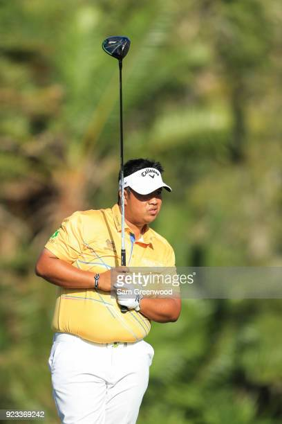 Kiradech Aphibarnrat of Thailand follows his tee shot on the seventh hole during the second round of the Honda Classic at PGA National Resort and Spa...