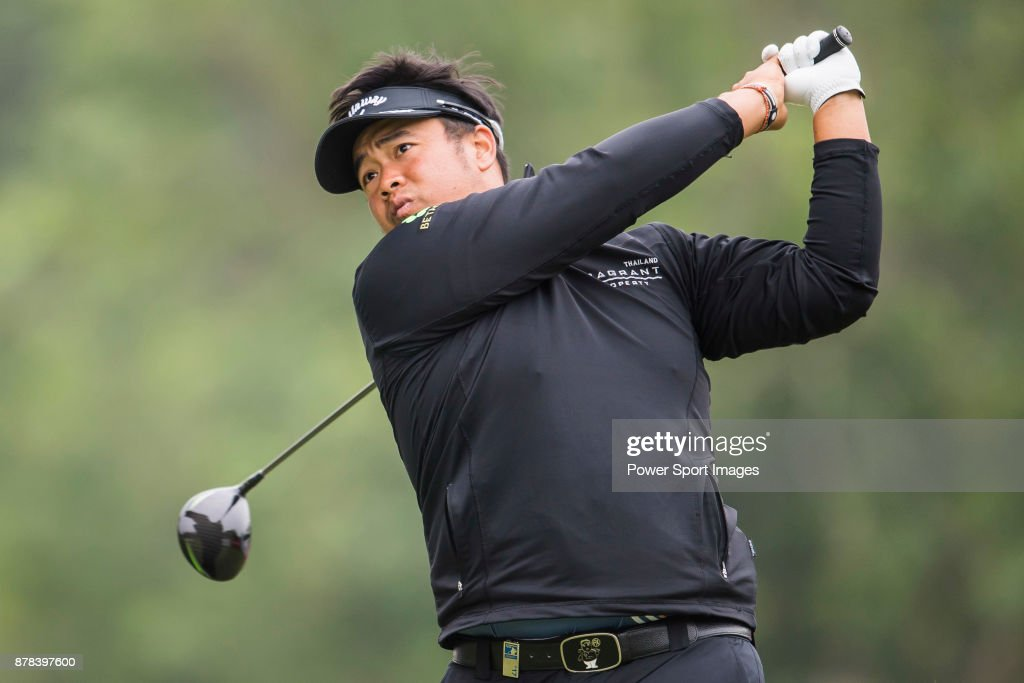 Kiradech Aphibarnrat of Thailand hits a shot during round two of the UBS Hong Kong Open at The Hong Kong Golf Club on November 24, 2017 in Hong Kong, Hong Kong.