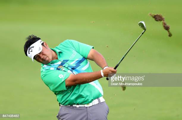 Kiradech Aphibarnrat of Thailand hits his second shot on the 8th hole during day two of the KLM Open at The Dutch on September 15 2017 in Spijk...